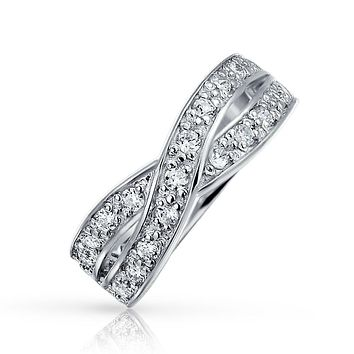 Criss Cross CZ Le Circle Infinity Wedding Band Ring Sterling Silver