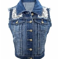 CROCHET TRIM DENIM VEST
