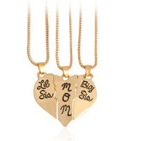 "3pcs/set Lettering Necklace""Little Sis MOM Big Sis"" Love Heart Pendant Mother Daughters kids Birthday Family Special Gift 369667"