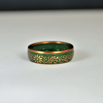 Japanese Coin Ring, Green Ring, Japanese Ring, Coin Ring, Bronze Ring, Japanese Coin, Japanese Jewelry, Coin Rings, Japanese Art, Coin Art