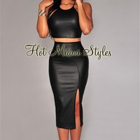 Black Faux Leather Two Piece Set