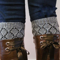 Knitted Boot cuffs - Knit boot toppers, Boot Cuffs, Boot Toppers, Boot Socks, Leg Warmers, Ankle Warmers