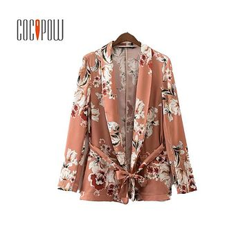 ZA women vintage floral print blazer Notched collar sashes long sleeve coat casual outerwear casaco feminine tops