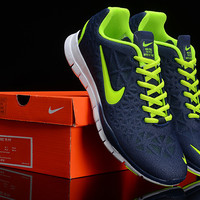Nike Free 5.0(Lime Green/Dark Blue)