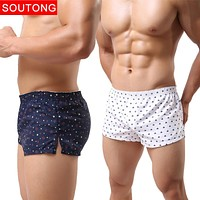 Soutong Men Underwear Boxers Broad Shorts Sexy Men Cueca Boxer Printed Men Shorts Home Underpants