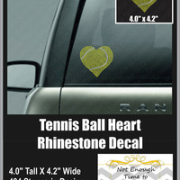 Tennis Ball Heart Rhinestone Decal