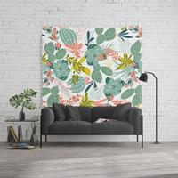 Succulent Garden White Wall Tapestry by Heather Dutton
