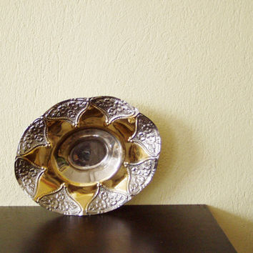 Vintage metal serving dish, oval, ornate bowl in gold and silver, standing on three legs, late eighties