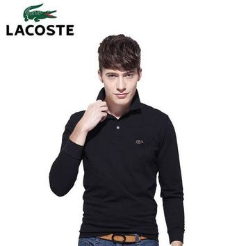 PEAP2Q hot sale lacoste men long sleeve simple polo shirt 100 cotton top
