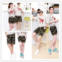 Women : lovers shorts Summer camouflage overalls cropped ghl0218