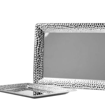2 Piece Hammered Edge Serving Tray Set
