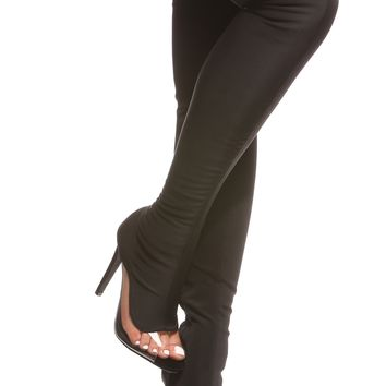 Black Vinyl Contrast Peep Toe Boots @ Cicihot Boots Catalog:women's winter boots,leather thigh high boots,black platform knee high boots,over the knee boots,Go Go boots,cowgirl boots,gladiator boots,womens dress boots,skirt boots.
