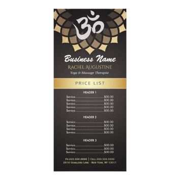 Black Gold Yoga Mandala OM Symbol Linen Price List Rack Card