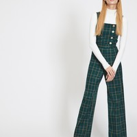 Green Check Button Jumpsuit | Miss Selfridge