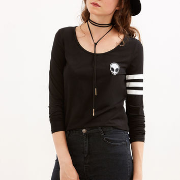 Black Varsity Striped Sleeve T-shirt With Alien Patch