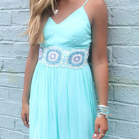Off The Water Aqua Crochet Waist Maxi Dress