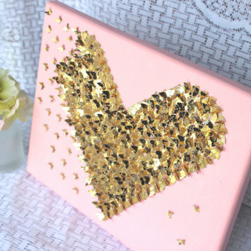 Pink and Gold Room Decor/ Little Girl's Bedroom Decor//  Wall Art// 3D Art// Gold Nursery Decor// Gold Heart// 3D Gold Wall Art