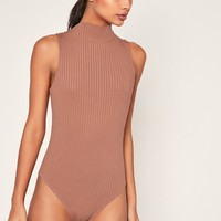 Missguided - Rose Pink Ribbed High Neck Bodysuit