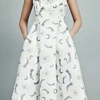 White Sheer Sleeveless V-Neckline Astromical Print Midi Dress