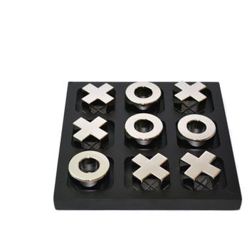 Silver Tic Tac Toe Silver Game Board Black & Silver Tic Tac Toe Coffee Table Games Silver Anniversary Gift