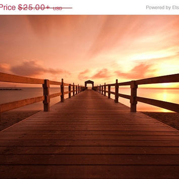 Beach Wall Art Dock Orange Sky Sunset Surreal Giclee Photo Limited Edition Print Caribbean Island Beach St Kitts Nevis Tropical Decor