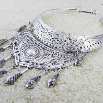 Silver Nomad Hmong Necklace Ethnic Tribal Statement Jewelry
