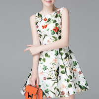 Fit And Flare Bateau A Line Floral Print Short Dress