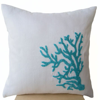 Decorative pillow with blue coral on white silk in turquoise beads -Oceanic pillows - White pillows -Embroidered Pillow- 16X16-Couch pillows
