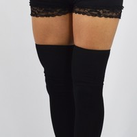 Thigh High Socks Lolita Gothic Over Knee Black Thigh High Socks