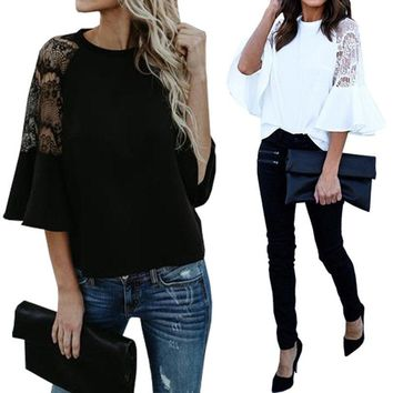 Women Bell Sleeve Lace Crochet Shirt Tops Round Neck Elegant Ladies Blouse Plus