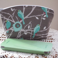 Cosmetic Bag Clutch Zipper Purse Cottage Birds  Made in the USA Bridal Wedding Gray