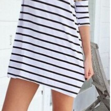 Black And White Stripe Loose Dress