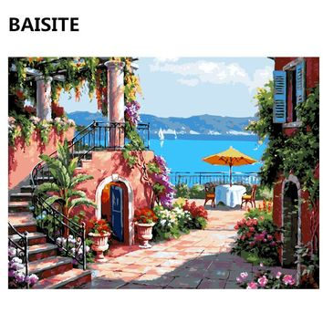 BAISITE Wall Art Seascape DIY Acrylic Painting By Numbers Canvas Modern Wall Picture For Living Room Home Decor E574