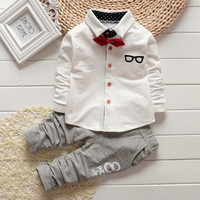 2015 Spring New Fashion Baby Boy Long Sleeve t-shirt + pants suit boy Kids Clothing Set free shipping