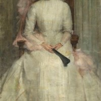 English School, circa 1910, Portrait of a lady, full-length, seated, in a white dress with a fan