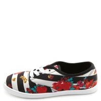 Lace-Up Striped Floral Print Sneakers by Charlotte Russe - Black