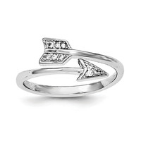Sterling Silver Rhodium-plated Polished CZ Arrow Adjustable Ring