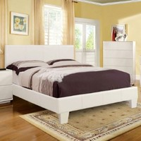 Winn Contemporary Style White Finish Leatherette Full Size Platform Bed Frame Set