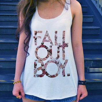 Fall out boy Shirt Tank-Top White Ladies Size SMALL MEDIUM