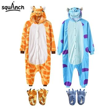 2018 New Animal Onesuit Kigurumi With Slippers Women Men Pajama Costume Cartoon Anime Pokemon Unicorn Bear One Piece Flannel Suit
