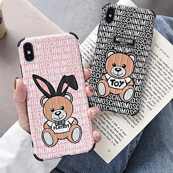MOSCHINO Fashionable Women Lovely Bear Mobile Phone Cover Case For iphone 6 6s 6plus 6s-plus 7 7plus 8 8plus X XS Max XR
