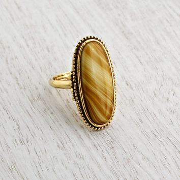 Vintage Yellow Brown Stone Ring - Signed Avon Statement Gold Tone Faux Agate Tigers Eye 1970s Jewelry / Shimmering Sands