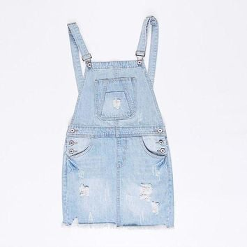 ONETOW Suspender School Girl Summer Denim Sundress Sexy Mini Pencil Denim Skirt Suspenders Women Jeans Overalls Girl Skirt S-XL