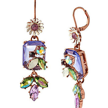 Betsey Johnson Crystal Gem & Mixed Faceted Bead Drop Earrings