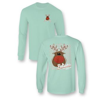 "*Closeout* Youth Sassy Frass Long Sleeve - ""Glitter Nosed Rudolph"" on a Comfort Colors"