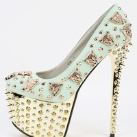 Red Kiss Eva Light Mint Leopard Spike Pumps | MakeMeChic.com
