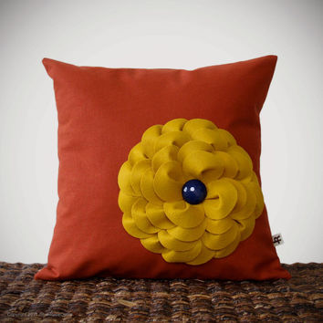 "Mustard Yellow Felt Flower Pillow Navy Button Rust Linen 16"" DECORATIVE PILLOW COVER by JillianReneDecor"