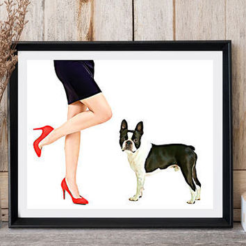 Pop art Woman legs Dog print Boston Terrier Dog card Home wall decor Minimalist art Dog lovers gift Poster animal Printable dog Print it out