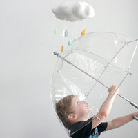 Sunny Cloud Mobile - Tut, tut it looks like rain in white, golden yellow, sky blue, and mint green
