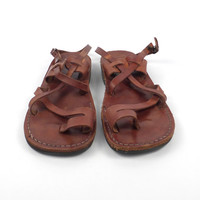 Leather Woven Sandals Vintage 1980s Brown Camel Huaraches size 40